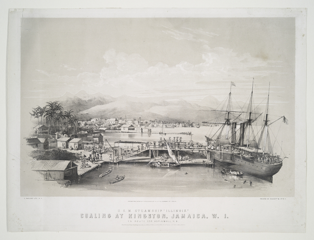 U.S.M. steamship Illinois.  Coaling at Kingston, Jamaica, W.I. enroute for Aspinwall, N.G.