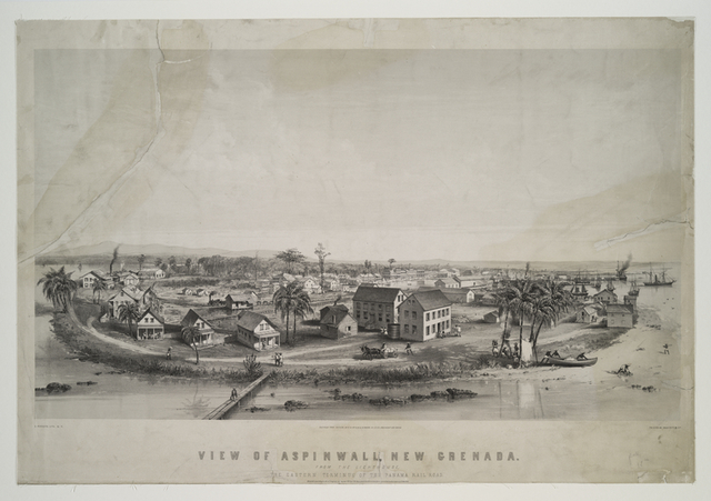 View of Aspinwall [Colón], New Grenada [Panama].  From the lighthouse, the eastern terminus of the Panama Rail Road.