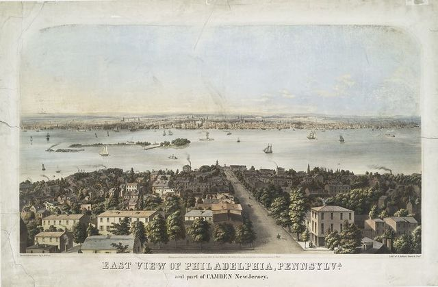 East view of Philadelphia, Pennsylva. and part of Camden New Jersey.