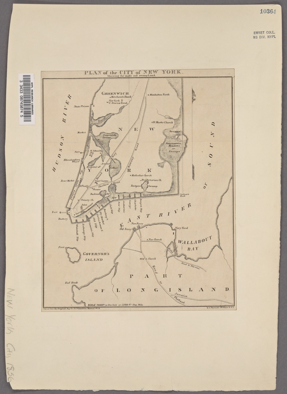 Plan of the city of New York: showing the made and swamp land / by G. Hayward, 120 Water St. N.Y.