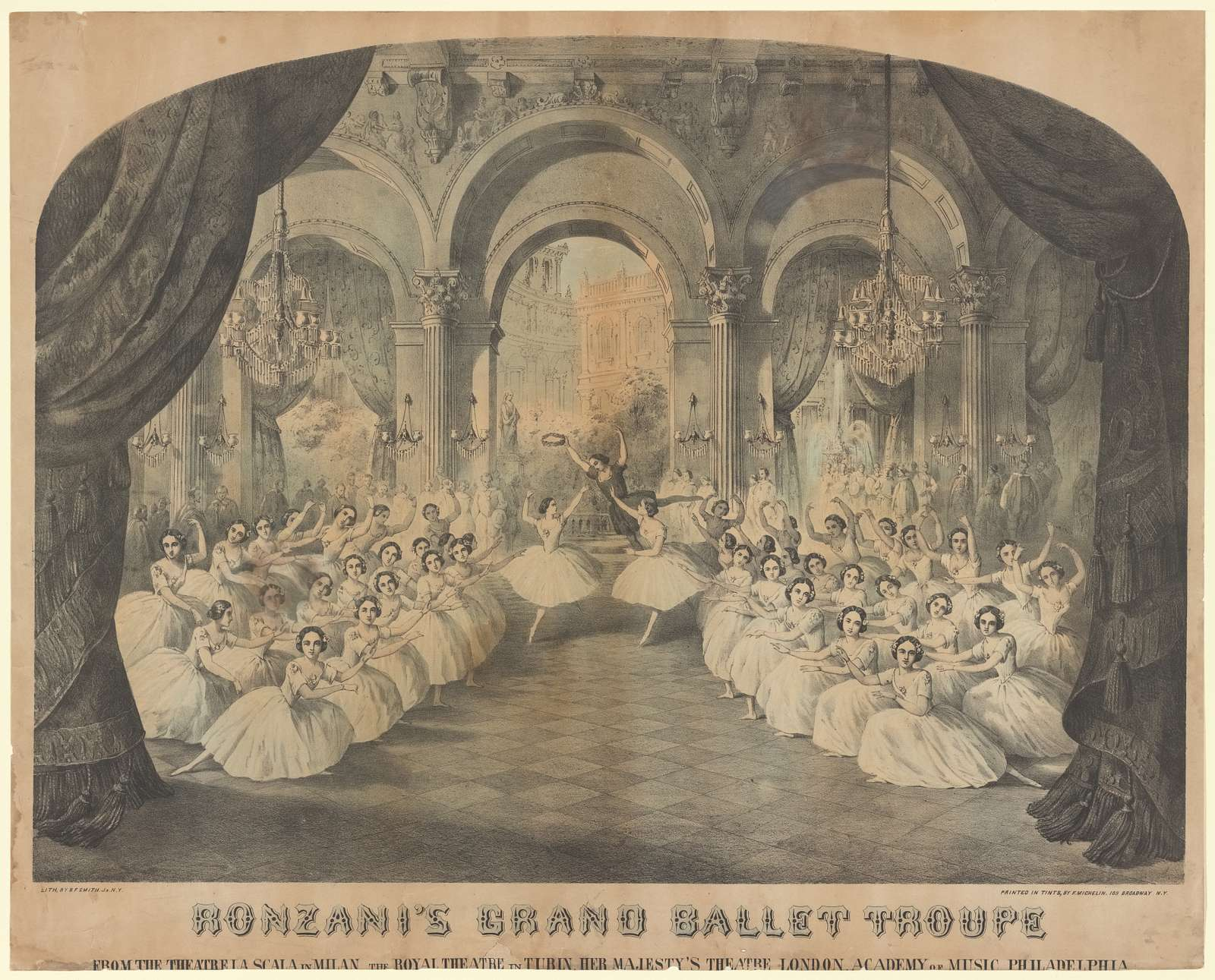 Ronzani's Grand Ballet Troupe: from the theatre La Scala in Milan, the Royal Theatre in Turin, Her Majesty's Theatre London, Academy of Music Philadelphia