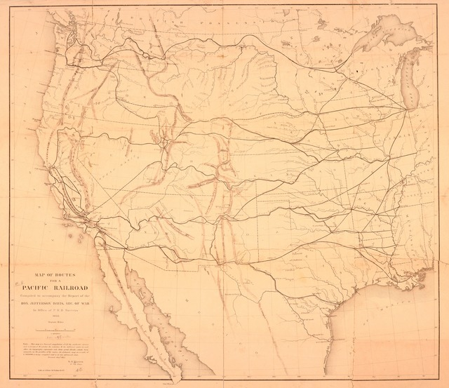 Map of routes for a Pacific railroad : compiled to accompany the report of the Hon. Jefferson Davis, sec. of war in Office of P.R.R. Surveys, 1855