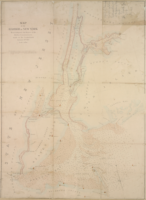 Map of the Harbor of New York : to accompany the report of the Harbor Commissioners made to the Legislature, January 27th, 1857.