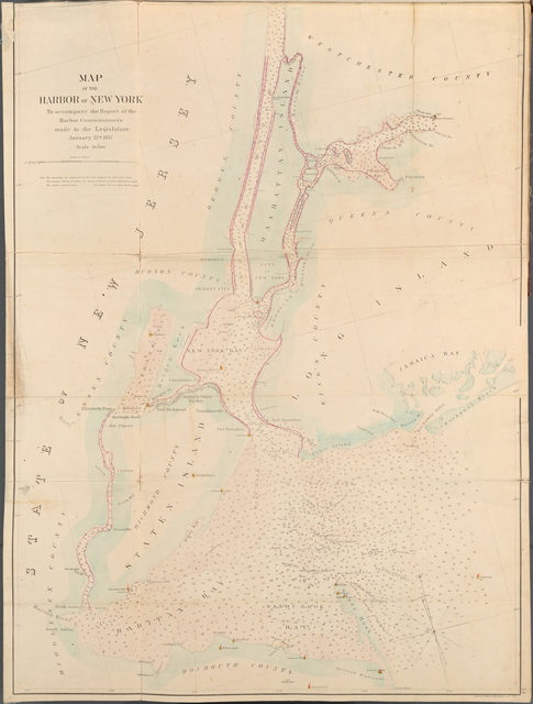 Map of the Harbor of New York to accompany the Report of the Harbor Commissioners made to the Legislature January 27th, 1857