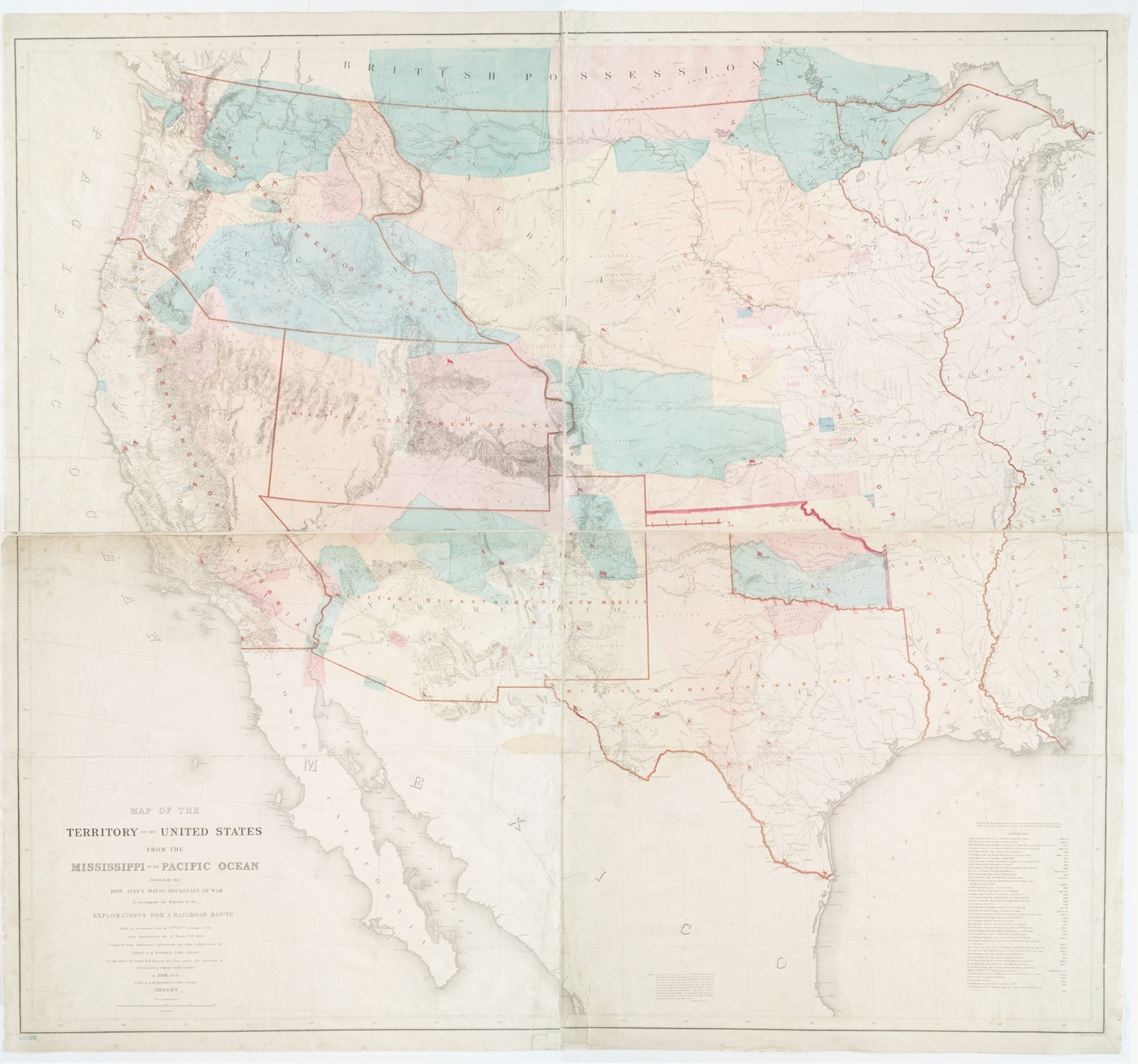 Map of the territory of the United States from the Mississippi to the Pacific Ocean : ordered by the hon. Jeff'n Davis, Secretary of War, to accompany the reports of the explorations for a railroad route