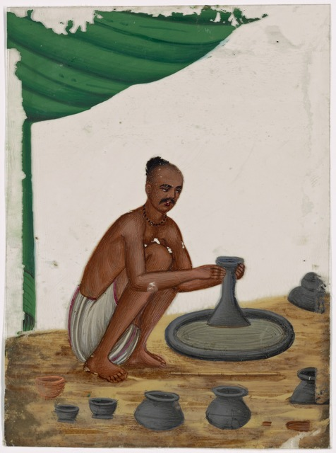 Seated male potter with tonsured hair, in front of pottery wheel and 6 jugs