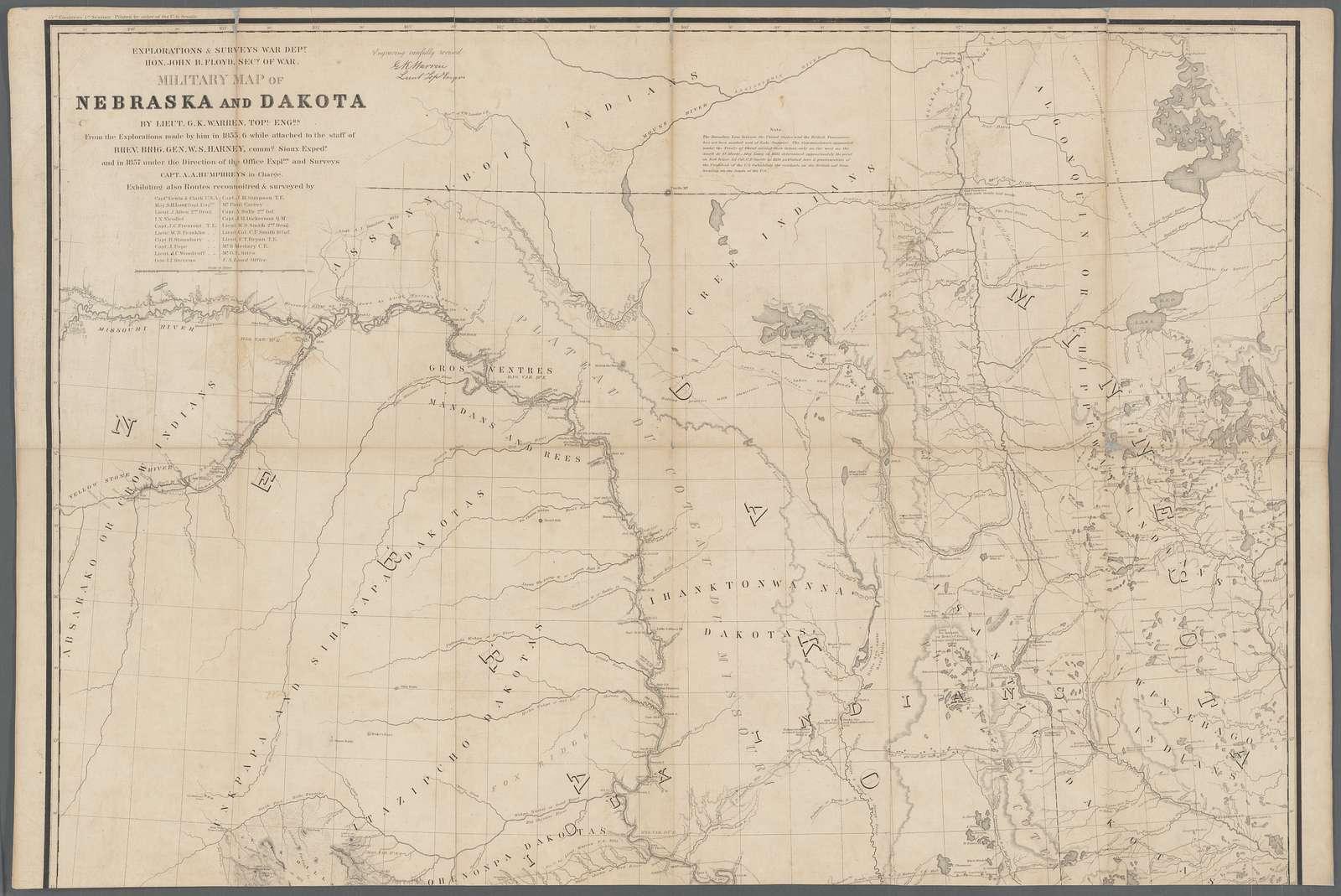 Military map of Nebraska and Dakota
