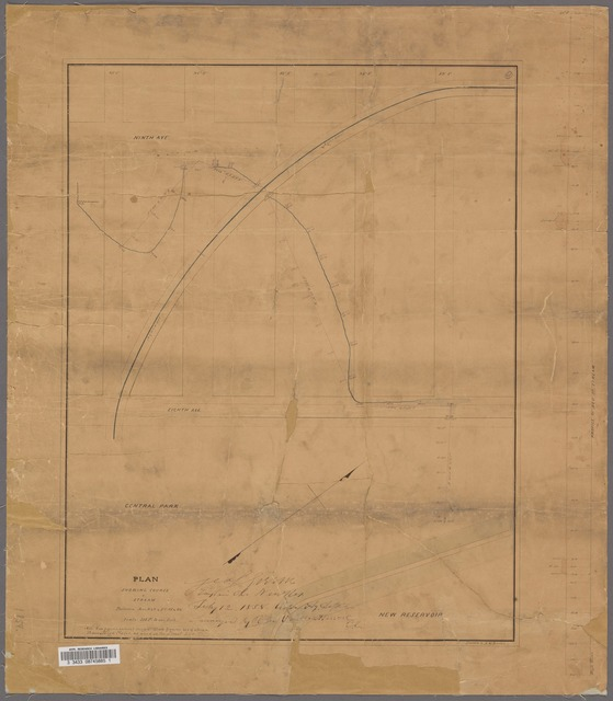 Plan showing course of stream between Aves. 8 & 9 & Sts. 85 & 89 / George S. Green, Engineer in Charge. Drawn by E. H. Burton.