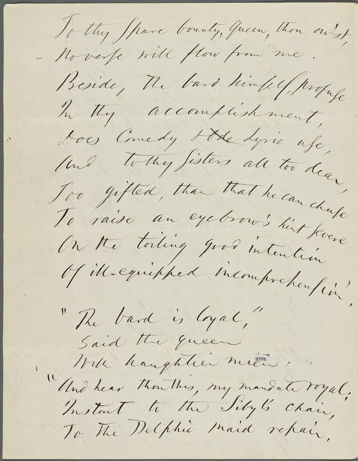"""""""As I left my door..."""" Holograph poem, in honor of J. R. Lowell's fortieth birthday, unsigned, undated."""