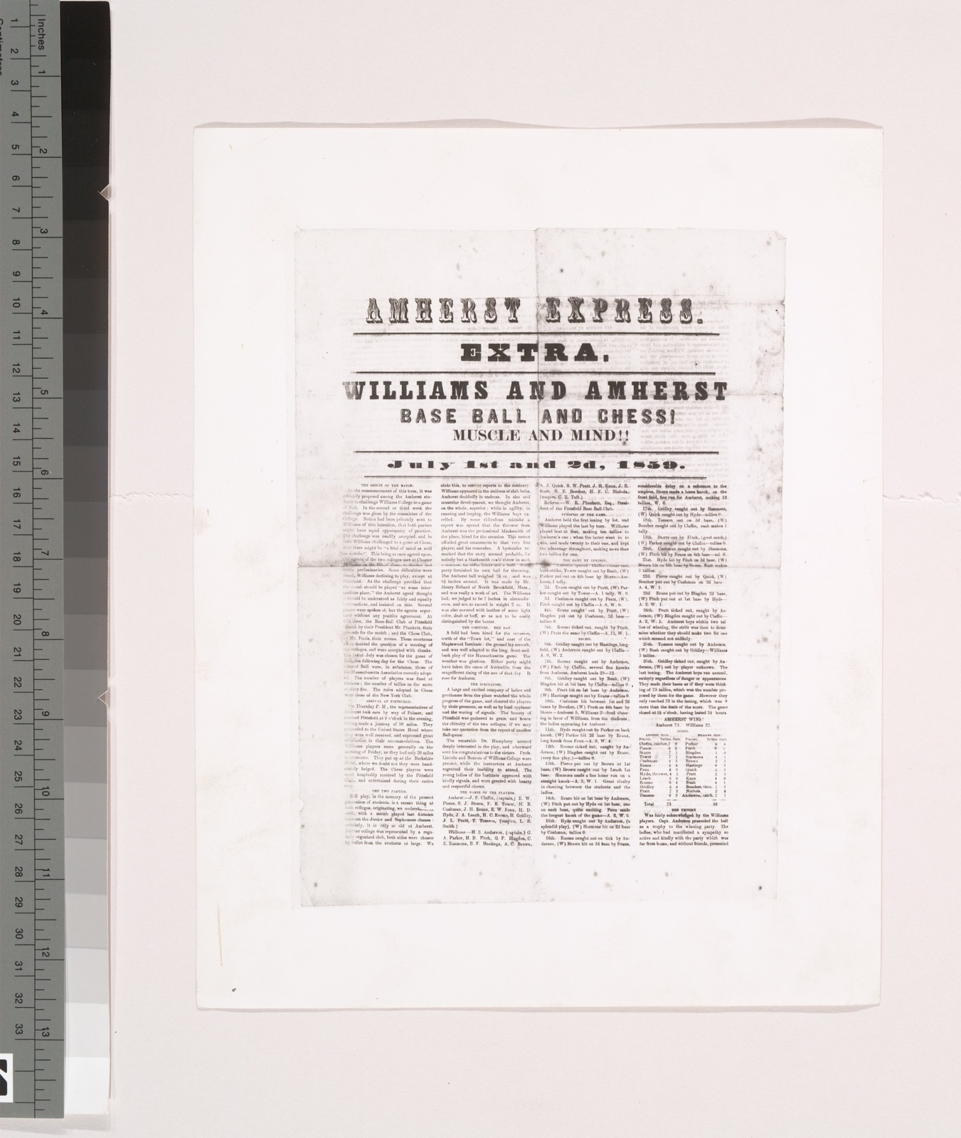 Photo of Amherst Express, Extra, Williams and Amherst, Baseball and Chess, Muscle and Mind, July 1st and 2nd, 1859