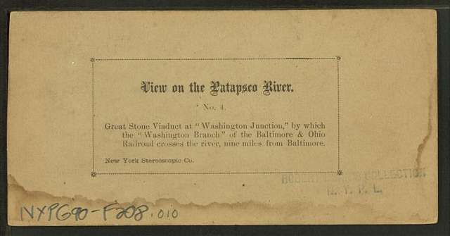 """Great stone viaduct (over the Patapsco River) at """"Washington Junction"""" by which the Washington Branch"""" of the Baltimore & Ohio Railroad crosses the river, nine miles from Baltimore."""