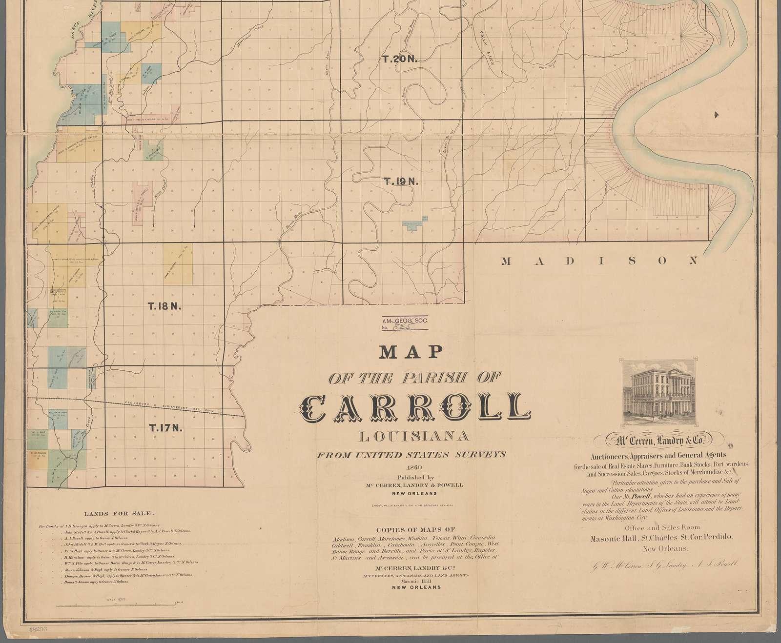 Map of the Parish of Carroll, Louisiana : from United States surveys