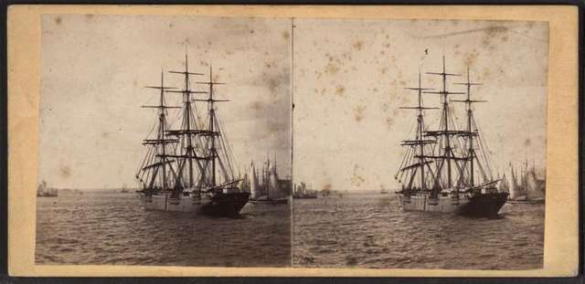 View in New York Harbor, taken from on board a clipper ship.