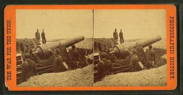 A 300 pounder (parrot gun [Parrott rifle]) on Morris Island, S.C., firing on Fort Sumter.