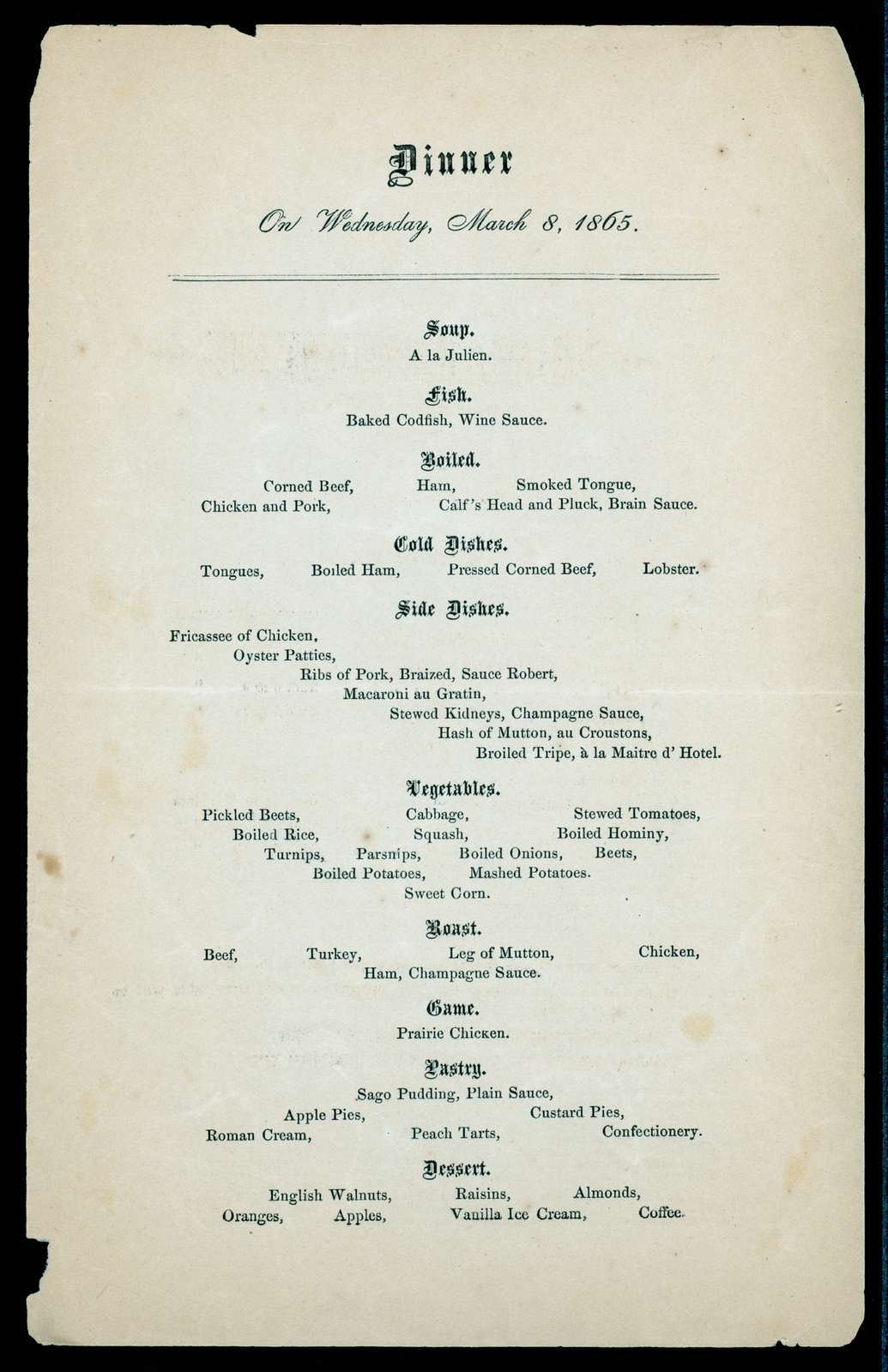 "DAILY MENU [held by] REVERE HOUSE [at] ""BOSTON, MA"" (HOTEL)"