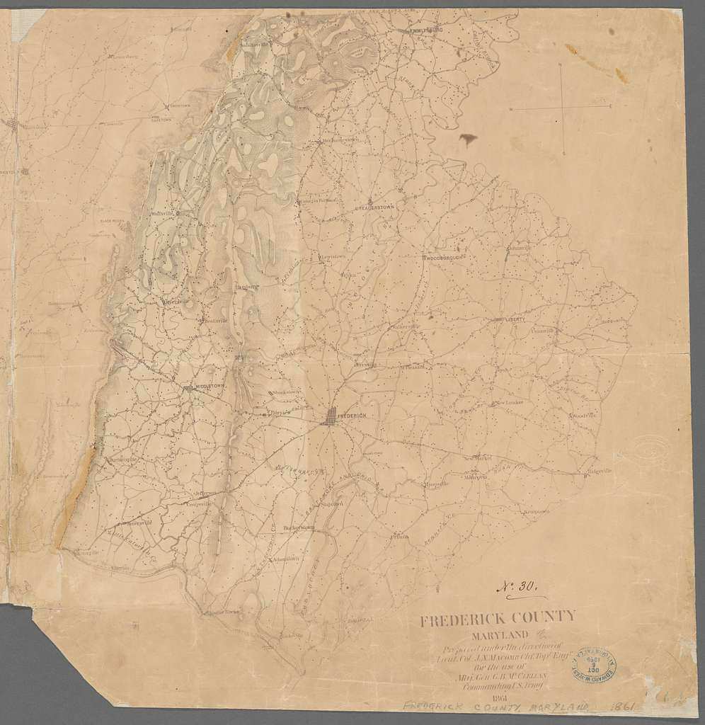 Frederick County, Maryland: prepared under the direction of Liut. Col. J.N. Macomb Chf. Topl. Engr., for the use of Maj. Gen. G.B. McClellan, commanding U.S. Army, 1861