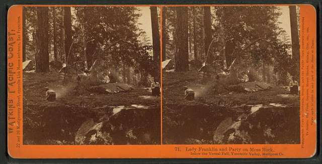 Lady Franklin and Party on Moss Rock, below the Vernal Fall, Yosemite Valley, Mariposa Co.