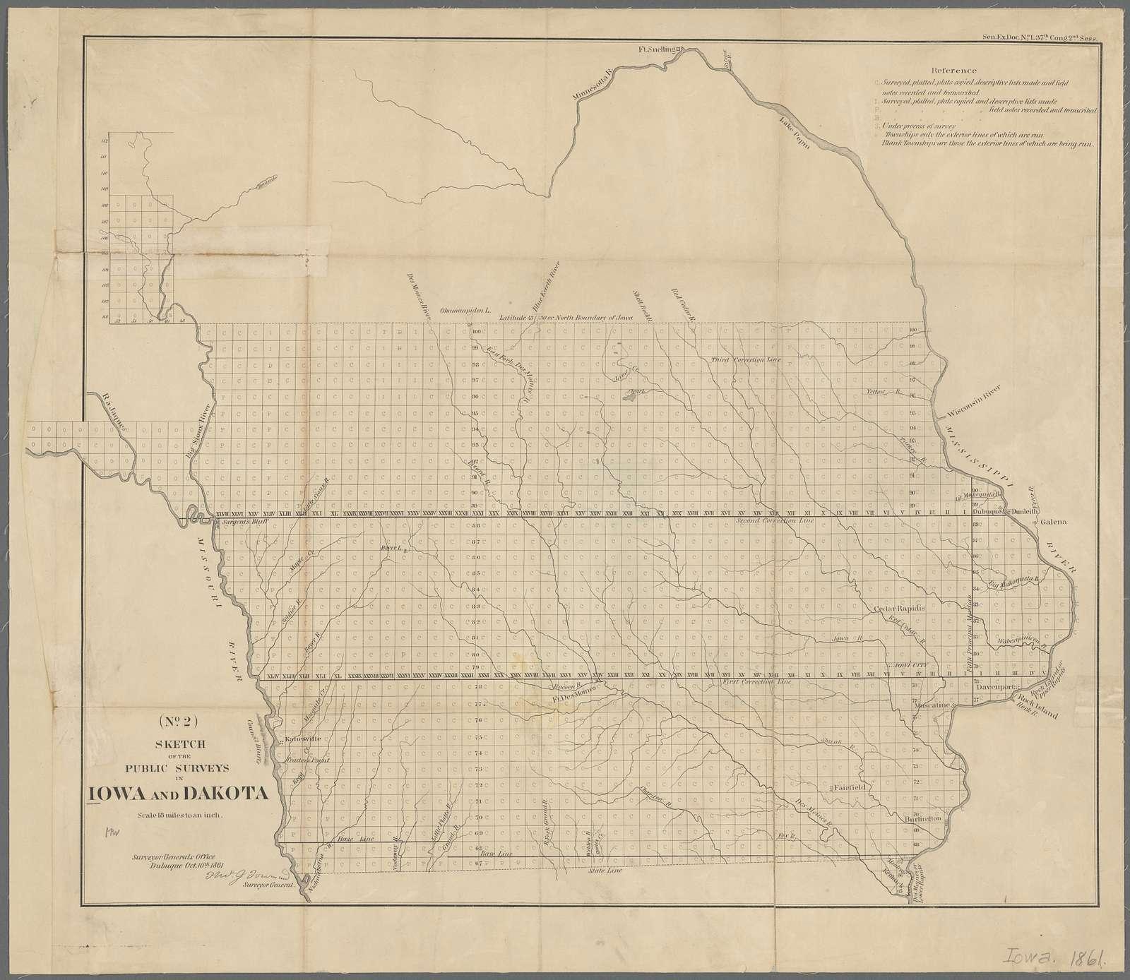 Sketch of the public surveys in Iowa and Dakota