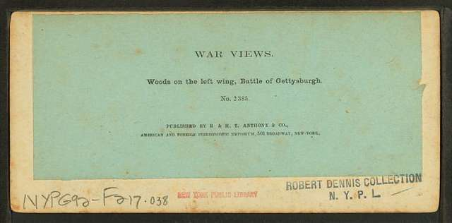 Woods on the left wing, Battle of Gettysburgh.