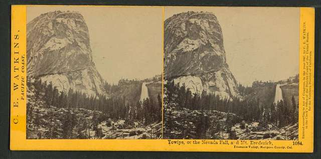 Yowiye, or the Nevada Fall, and Mt. Broderick, Yosemite Valley, Mariposa County, Cal.