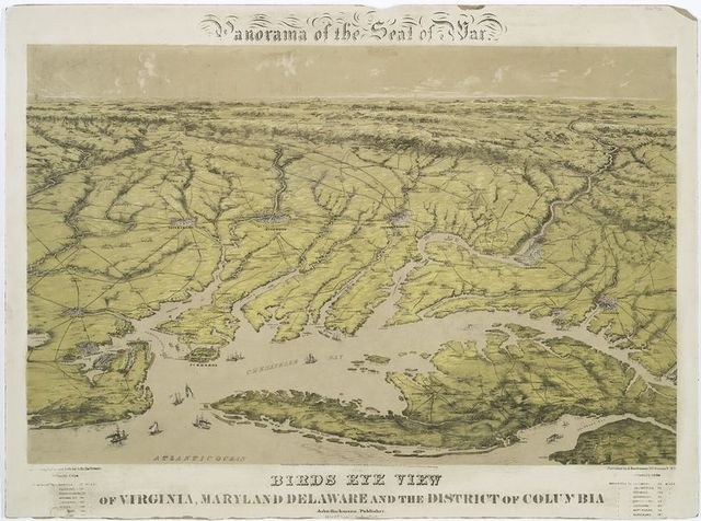 Panorama of the seat of war.  Birds eye view of Virginia, Maryland Delaware and the District of Columbia