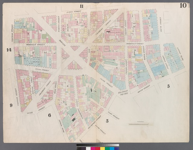 [Plate 10: Map bounded by Chatham Street, James Street, South Street, Dover Street, Franklin Square, Frankfort Street, Fose Street, Duane Street.]