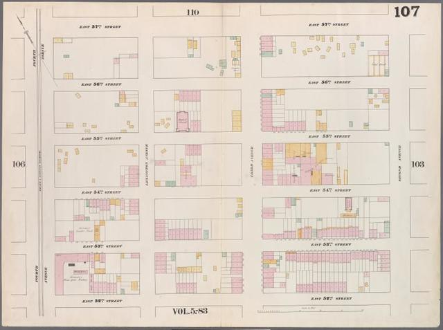[Plate 107: Map bounded by East 57th Street, Second Avenue, East 52nd Street, Fourth Avenue.]