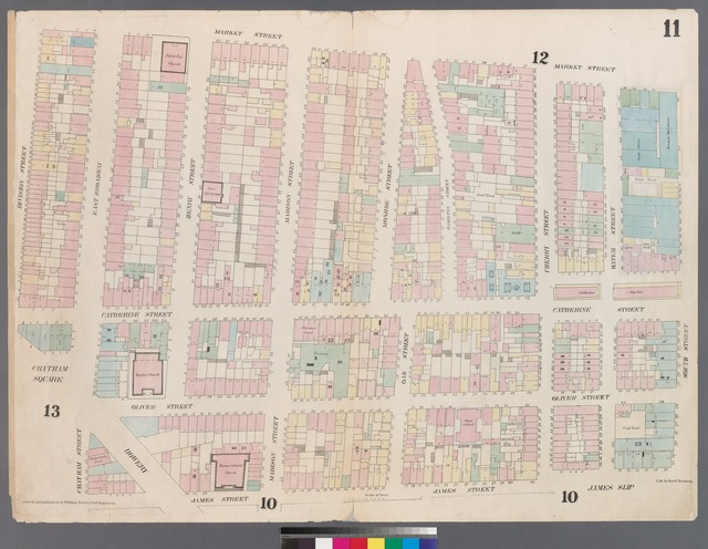 [Plate 11: Map bounded by Chatham Square, Division Street, Market Street, South Street, James Slip, James Street.]