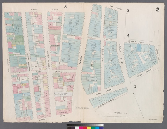[Plate 2: Map bounded by Rector Street, Broadway, Wall Street, Broad Street, Exchange Place, William Street, Beaver Street, Broad Street, Marketfield Place, Battery Place, West Street.]