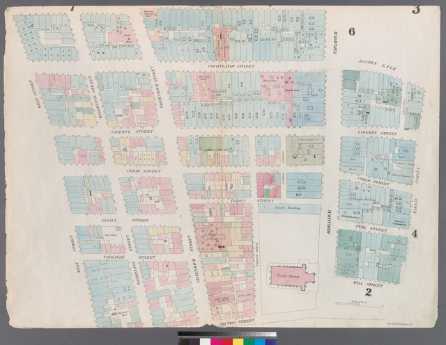 [Plate 3: Map bounded by Dey Street, Broadway, Maiden Lane, Nassau Street, Wall Street, Broadway, Rector Street, West Street.]