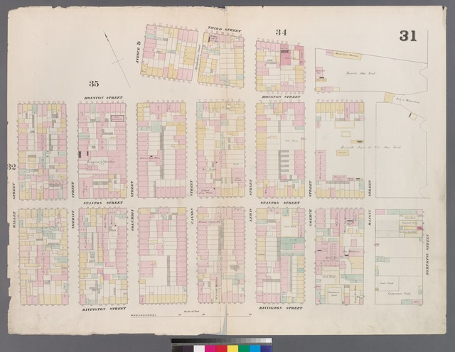 [Plate 31: Map bounded by Houston Street, Avenue D, 3rd Street, East Street, Rivington Street, Willett Street.]