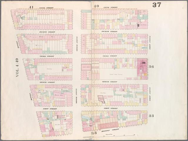 [Plate 37: Map bounded by 5th Street, First Avenue, Houston Street, Bowery.]