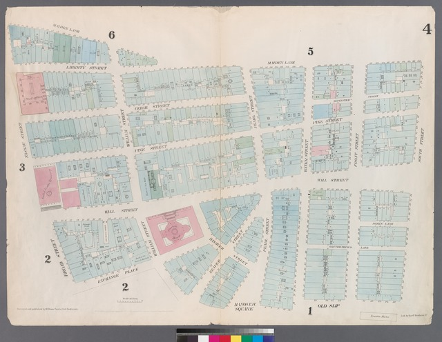 [Plate 4: Map bounded by Maiden Lane, South Street, Old Slip, William Street, Exchange Place, Broad Street, Nassau Street.]