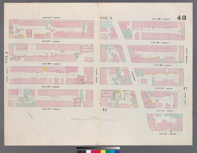 [Plate 48: Map bounded by West 22nd Street, East 22nd Street, Fourth Avenue, Union Square North, Broadway, East 18th Street, West 18th Street, Sixth Avenue.]