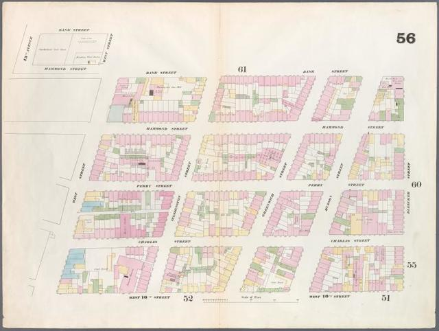 [Plate 56: Map bounded by Bleeker Street, West 10th Street, West Street, Hammond Street, Hudson River, Bank Street.]