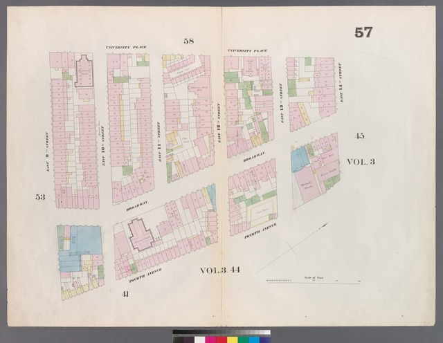[Plate 57: Map bounded by 14th Street, Fourth Avenue, 9th Street, University Place.]