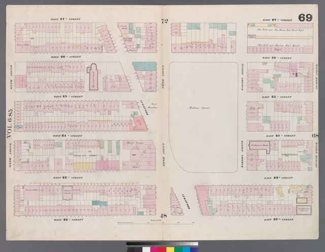 [Plate 69: Map bounded by West 27th Street, East 27th Street, Fourth Avenue, East 22nd Street, West 22nd Street, Sixth Avenue.]