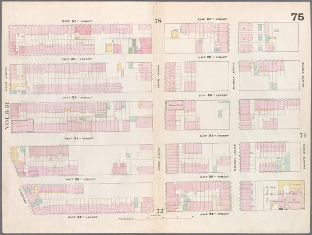 [Plate 75: Map bounded by West 37th Street, East 37th Street, Fourth Avenue, East 32nd Street, West 32nd Street, Sixth Avenue.]