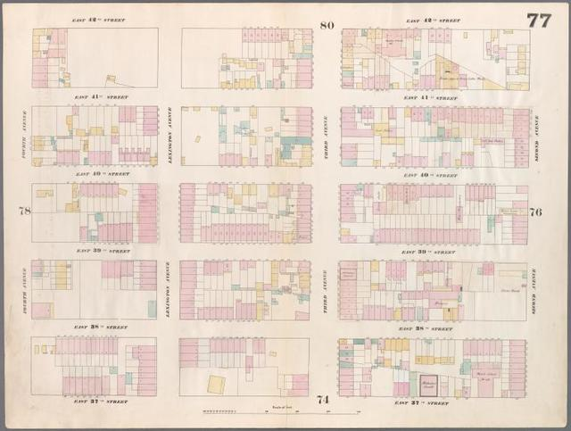 [Plate 77: Map bounded by East 42nd Street, Second Avenue, East 37th Street, Fourth Avenue.]