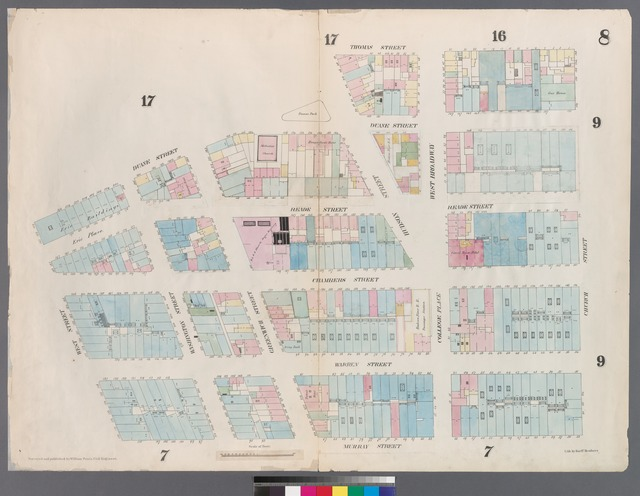 [Plate 8: Map bounded by Duane Street, Hudson Street, Thomas Street, Church Street, Murray Street, West Street.]