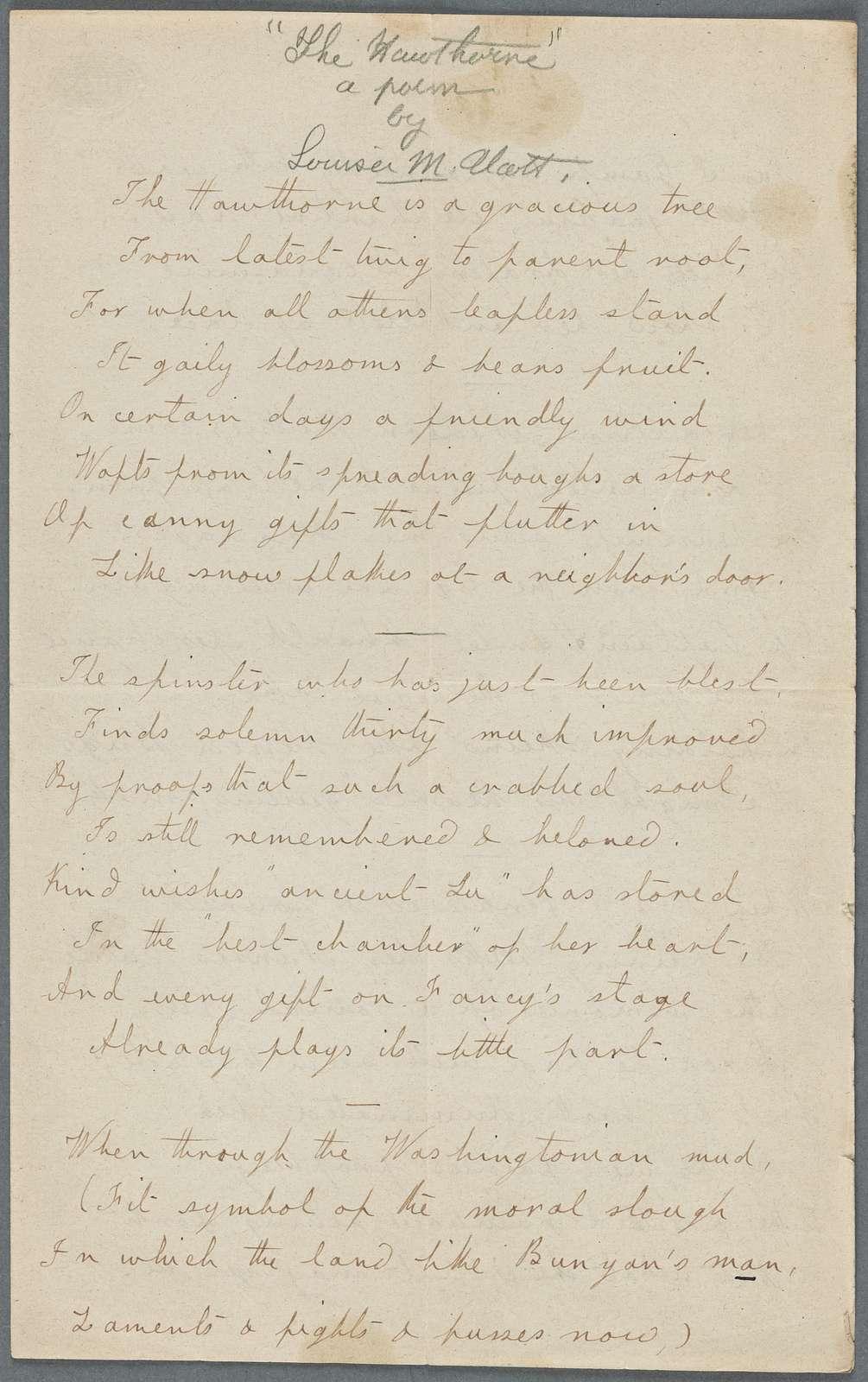 "Alcott, Louisa May. ""The Hawthorne."" Holograph poem, signed ""neighbor Lu,"" undated."