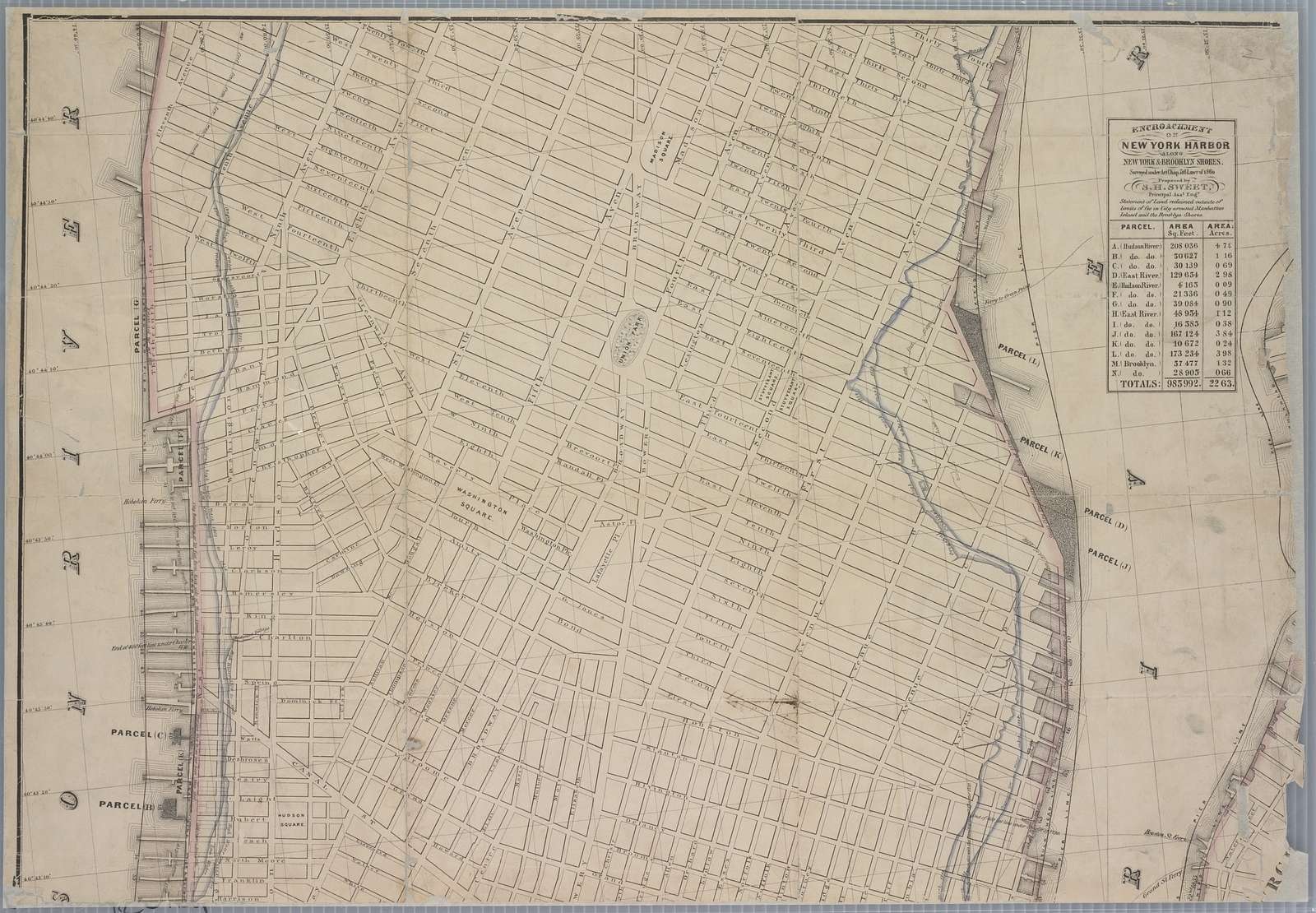 New map of that part of the city of New York south from 20th Street on the Hudson & 35th Street on the East River : showing the position of Greenwich, Washington and West Streets on the Hudson River, and Pearl, Water, Front, Cherry & Tompkins Sts. on the East River : also the Brooklyn shore from Bobine House to Red Hook Point : also the high & low water  mark as developed from the original city grants : the ordinance lines of 1795, 1796 & 1808 and the lawful boundary of the city