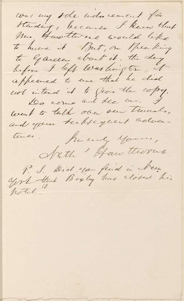 Ticknor, [William D.], ALS to. Apr. 20, 1862.