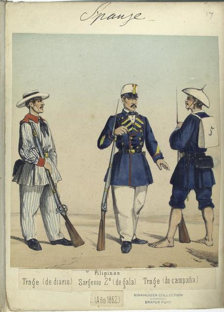 Filipinas: Trage (de diario), Sargento 2-o (de gala), Trage (de campaña). 1862
