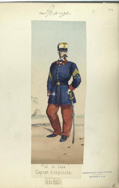 Isla de Cuba. Capitan (con poncho). 1862