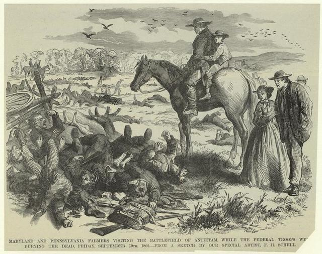Maryland and Pennsylvania farmers visiting the battlefield of Antietam, while the federal troops we[re] burying the dead, Friday, September 19th, 1862.