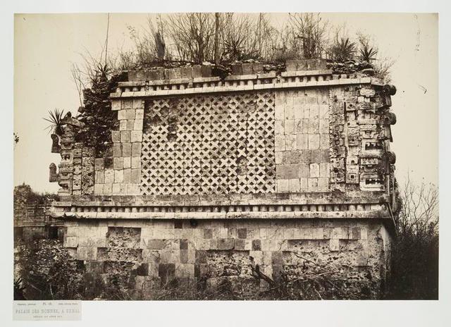 Palais Des Nonnes, à Uxmal; detail du cote sud.