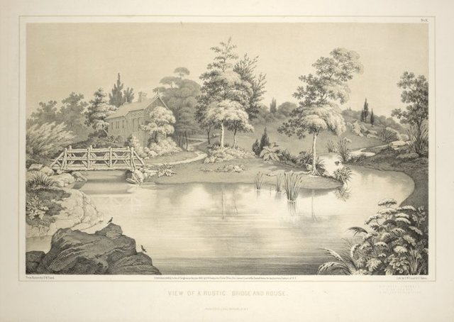 View of a rustic bridge and stone house. From Central Park Album, 1862