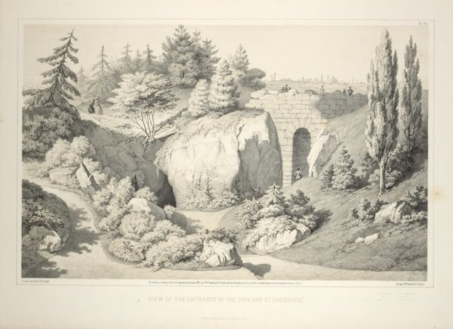 View of the entrance of the cave and stone bridge. From Central Park Album, 1862