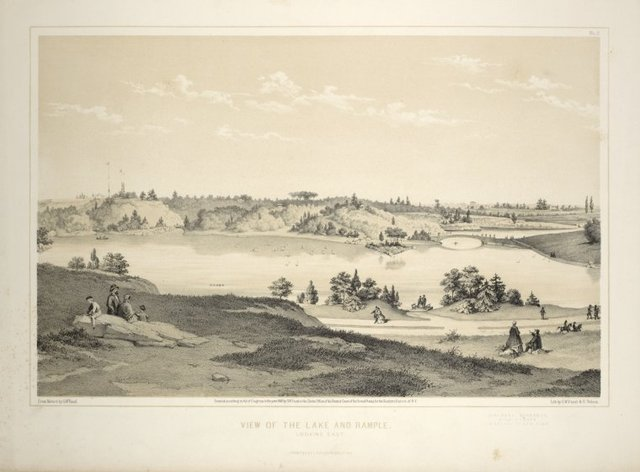 View of the lake and Rample [sic] looking east. From Central Park Album, 1862